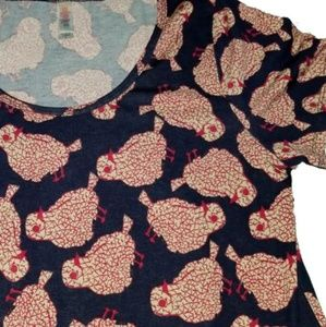 Lularoe classic tee shirt bird red blue